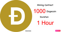 At least 1000 Dogecoins 1 hours Dogecoin DOGE Cryptocurrency mining contract