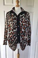 Ladies Shirt Blouse Leopard Print Designer Boutique Sz 12 14 Bat Wing Statement