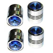 4 Chrome Billet & Blue Bling Crystal Gem Valve Caps - Motorcycle, Car Rims