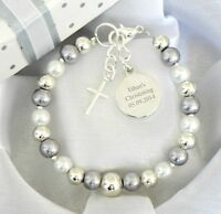 Personalised  Christening First Holy Communion Bracelet Engraved Round Charm
