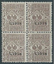1912-15 LIBIA AQUILA 1 CENT QUARTINA MNH ** - ED377