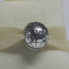 New Authentic Pandora Globe Clip Sterling Silver 791182 Charm Box Included