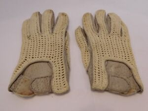 *DESIGNER LADIES GRAY LEATHER & CREAM KNIT DRIVING GLOVES UNLINED SIZE 6.5
