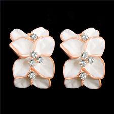 One Pair Flower 18K Rose Gold Filled Plating Clear Austrian Crystal Hoop Earring