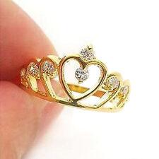 1pcs Girl Women Gold Plated Filled Rhinestone Crown Ring Finger Gift Fashion