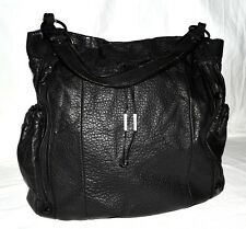 Kenneth Cole Reaction Black Pebbled Faux Leather Multi Pocket XL Tote Bag NWOT