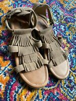 Minnetonka Maui Taupe Suede Leather Womens Sandals Size 9 (M)