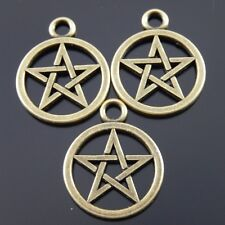 40X Antiqued Bronze Tone Five-Pointed Star Round Pandent Charms 20*20*2 mm