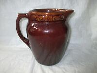 "6.76"" Brush-McCoy Pottery Dark Brown Kolorkraft 3-pt Jug Pitcher #331, c. 1929"