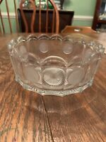 """American Glass Large Fostoria Coin Pattern Round Bowl 7.5"""" X 3.25"""" Clear"""