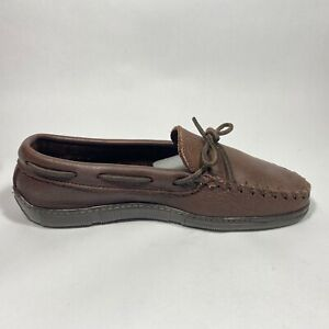 Minnetonka Mens Driving Moccasin Loafers Soft Flexable Brown Leather size 8.5