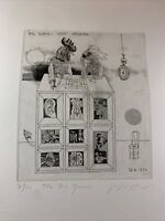 """Adam Wurtz Surrealist Etching """"The Big Game"""" Signed Limited Edition 7/100 1979"""
