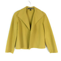Linda Allard Ellen Tracy Green Open Front Soft Wool Jacket Size 6P FLAW READ