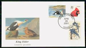 Mayfairstamps US FDC 2001 COVER KING EIDER COMBO wwk3429