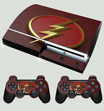 PLAYSTATION PS3 OLD SHAPE FLASH LOGO 01 SUPERHERO STICKER SKIN & 2 PAD SKINS