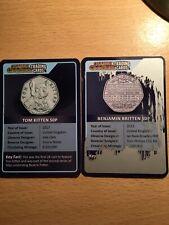 A Pair Of CHANGE CHECKER TRADING CARDS BENJAMIN BRITTEN & TOM KITTEN (No Coins)