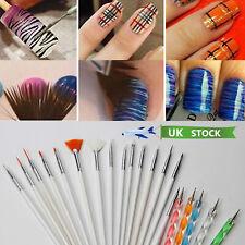 UK 20pc Nail Art Design Painting Dotting Detailing Pen Brushes Bundle Tool Kit