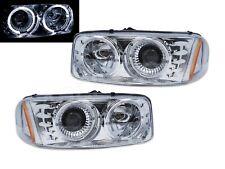 Pair Chrome Halo Projector Headlights for 2000-2006 GMC Sierra Yukon / Yukon XL