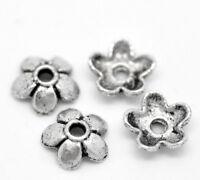 300 Antik Silber Blume Perlen Beads Ende Kappen 6x6mm B19897