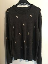 New WHO. A.U Knitted Men Gray Bears Icon Wool Blend Crew Neck Sweater Size L