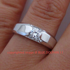 Real Genuine Solid 9ct White Gold Engagement Wedding Ring Band Simulated Diamond