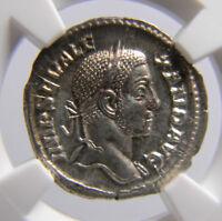 Roman Empire  Severus Alexander 222-235 AD AR  Denarius  NGC CH AU Wings