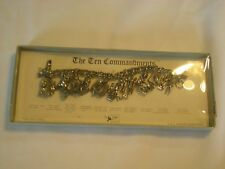 """CORO"" Signed Ten Commandments Charm Bracelet in Original Box silver-tone (AeB"