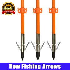 """32"""" Bow Fishing Arrows Fishes Safety Slides Hunting w/Nock Broadhead Point Tip"""