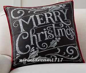 "Pottery Barn Holidays ~MERRY CHRISTMAS~ Chalkboard Pillow Cover 20"" x 20"""