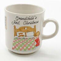 Vintage Russ Berrie Grandchilds First Christmas Cup Baby Child Mug Holiday