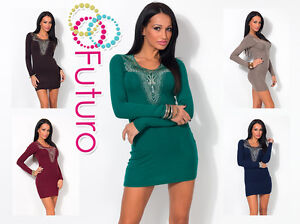 Party Cocktail Mini Dress Long Sleeve Bodycon Sequined Tunic Sizes 8-12 FC4262