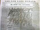 <1863 Civil War headline newspaper BATTLE of CHATTANOOGA Tennessee w LARGE MAP