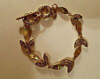 Gold Tone Filigree Abalone Leaf Toggle Bracelet Cookie Lee NWOT