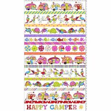Loralie Panel Borders Happy Camper White Fabric Campers Fish Turtles Birds 24x44