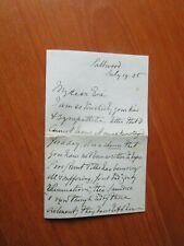 1905 SALTWOOD GEORGE EGERTON HODGSON LETTER TO EVA DUCAT WITH STAMPED  ENVELOPE