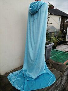 very long crushed velvet cloak . light blue velourlast one  suit bride