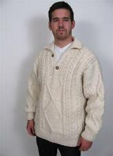 BUFFALO TRADING CO MANS 100% WOOL CABLE KNIT FISHERMANS SWEATER JACKET COAT~L/XL