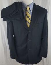Tasso Elba Navy Pinstripe Macys Angelico Super 140s Wool 43R Suit 34X31 Pants