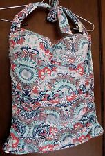 Helen Jon Bikini Top Halter Tankini Swimsuit Swimwear Bathing Suit Large Paisley