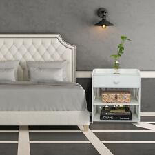 Wooden Bed Side End Table Nightstand Bedroom Drawer & Bottom Shelf White new174