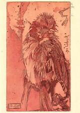 "vintage greeting   artistcard Horst Jansen  ,  dead  bird ""2885"""