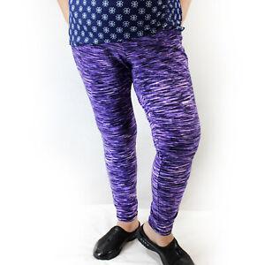 Catherines Space-Dyed Purple Active Leggings Yoga Pants Plus 2X, 22/24