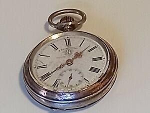 Silber Taschenuhr um 1900 F. Bachschmid Patent Schweiz 800 Silber , gangbar