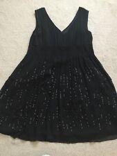 Floaty sequin detail black chiffon cocktail dress size 16