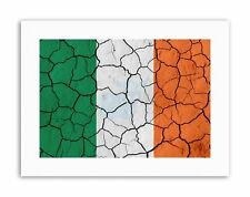 Abstract Drapeau craquelé béton Irlande Irlandais Tricolore Toile Art Prints
