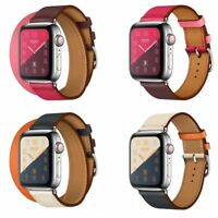 For Apple Watch Series 4/3/2/1 Leather Watch Band Herme Single/Double Tour Strap