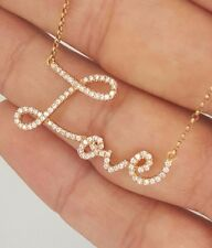 NEW 18K SOLID PINK ROSE GOLD PAVE DIAMOND LOVE SCRIPT WORD TEXT PENDANT NECKLACE