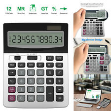 Desktop Calculator Basic 12-Digit Large Display Office Business US H1006 Helect