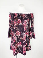 ASOS Women's Purple Off The Shoulder Bell Sleeve Floral Dress Size 4 NWT