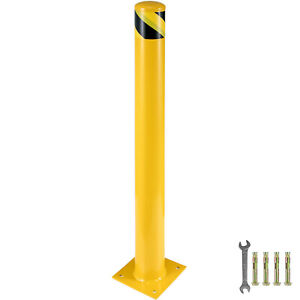"Safety Bollard Steel Bollard Post 36""H 4.5""D Yellow Signs Pipe Steel Barrier"